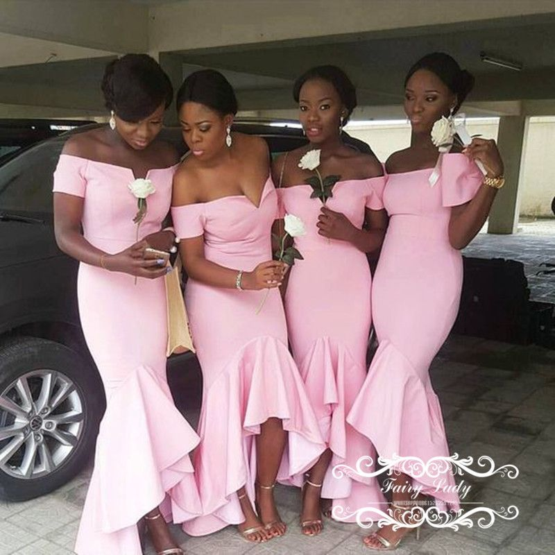 2018 Pink High Low Ruffles Pink Mermaid Bridesmaid Dresses Sexy Off ...