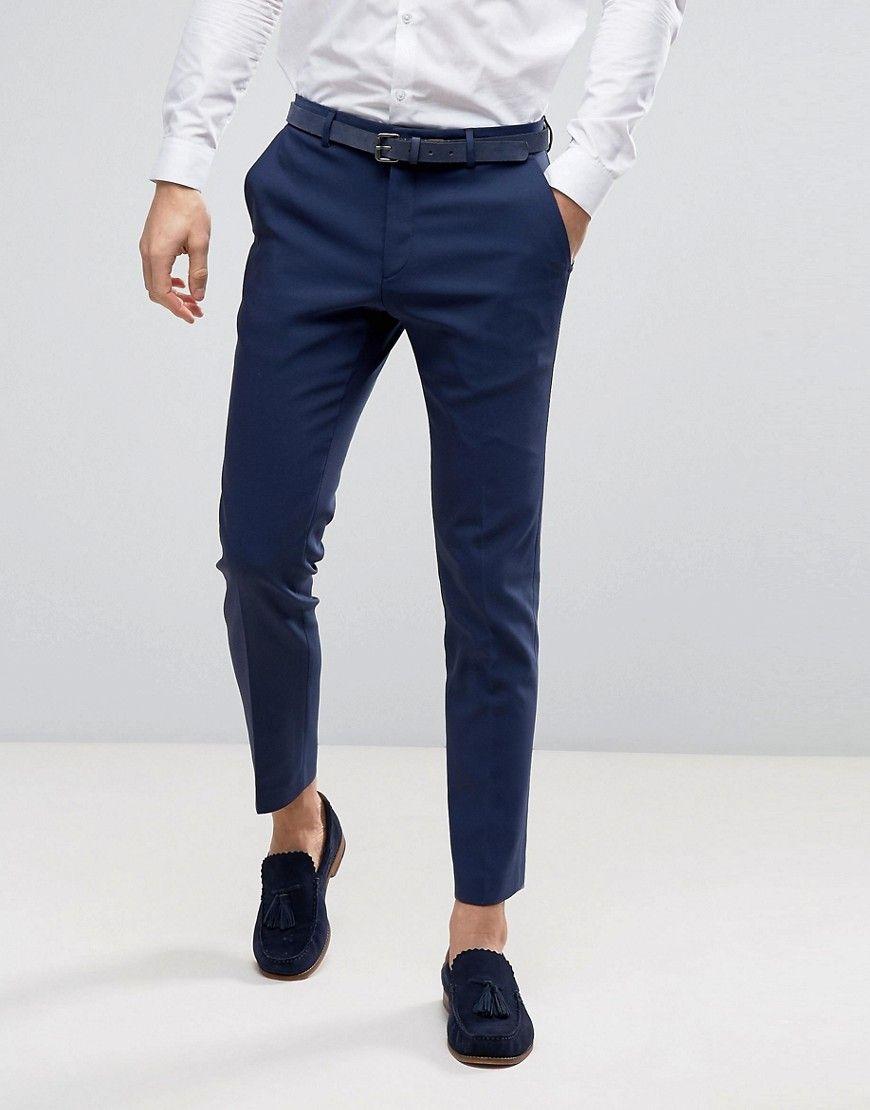 Asos Wedding Skinny Suit Pant In Navy Navy Pants Outfit Men Skinny Suits Mens Pants Fashion [ 1110 x 870 Pixel ]