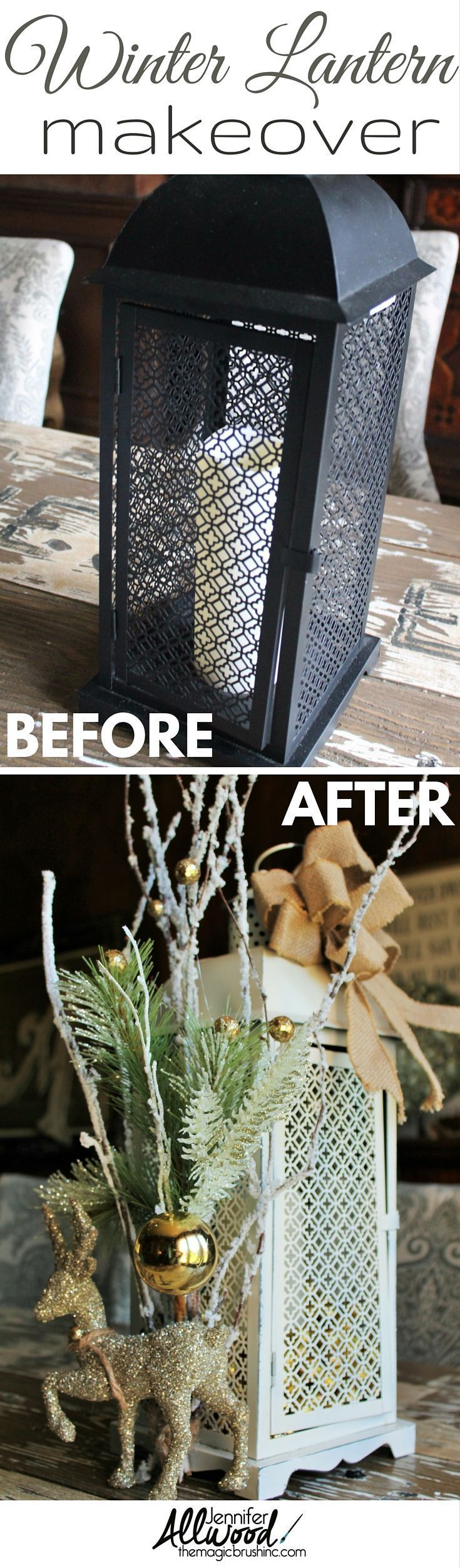 Ideas : Find a Christmas lantern on clearance and decorate it for winter! Lantern decorating is a fun way to take something that is cute and make it gorgeous!!! More painting tips and DIY projects at theMagicBrushinc.com