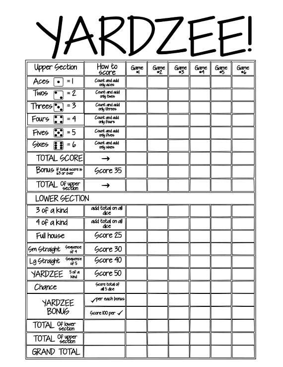 Printable YARDZEE Score Card file no logo-DIY Yardzee DIY Crafts - sample yahtzee score sheet