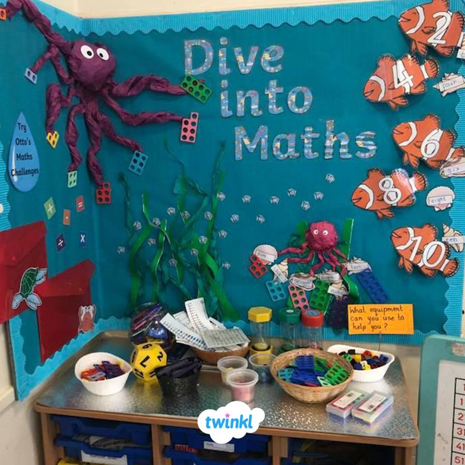 A gorgeous maths display by Twinkl member, Eve ❤️  A great idea for your back to school displays, perfect with our Maths resources!    maths  displays  classroomdisplay  backtoschool  displaywall  classroom  education  twinkl  twinklresources