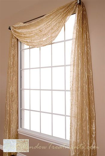 Lasandra Sheer Scarf Swag Window Topper Available In 2 Color Choices Window Toppers Swag Curtains Window Swags