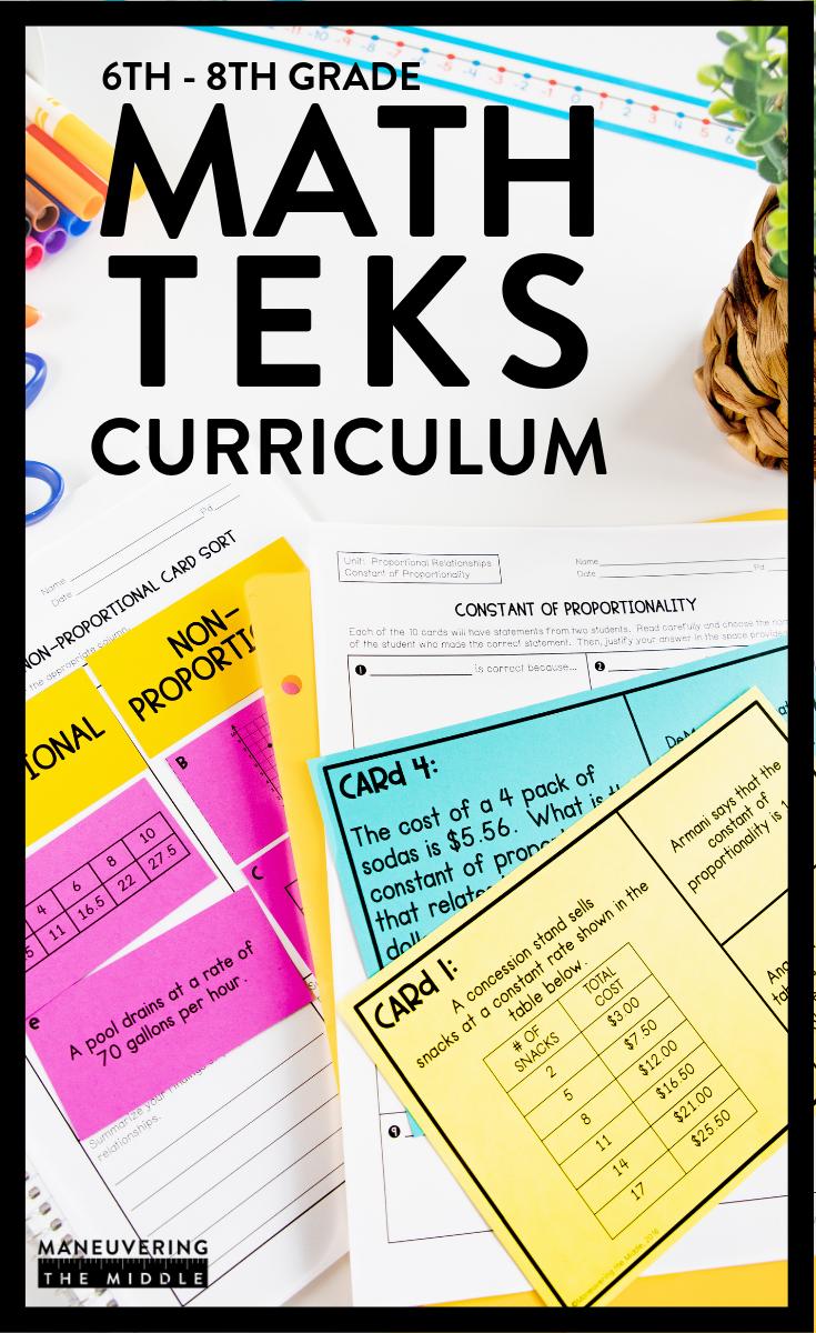 Math Teks Curriculum For 6th 8th Grade Math Teks Everyday Math Math Curriculum [ 1200 x 735 Pixel ]