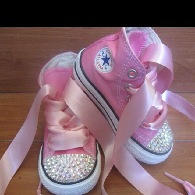 ..maybe not high tops, but heart the ribbon and rhinestones....