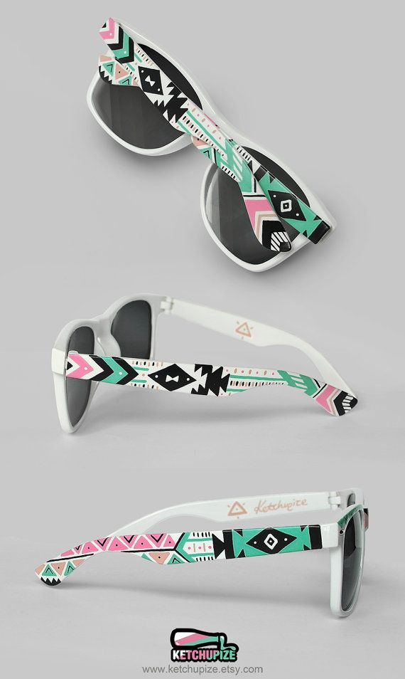 Women sunglasses gift for her festival unique gift for girlfriend Aztec trend fashion tribal shades geometric pastel ethnic