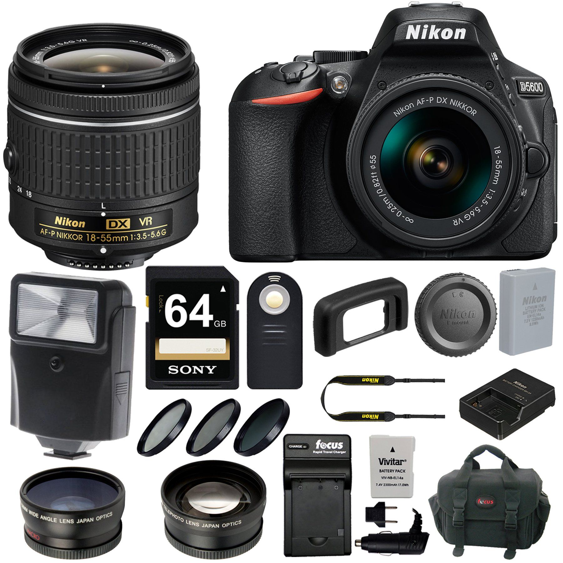 Nikon D5600 DSLR Camera with 18 55mm Lens and 64GB Card Flash Batteries Kit