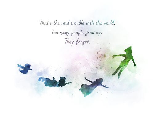Disney ART PRINT Peter Pan inspired Quote Wall Art Gift Nursery Never Grow Up