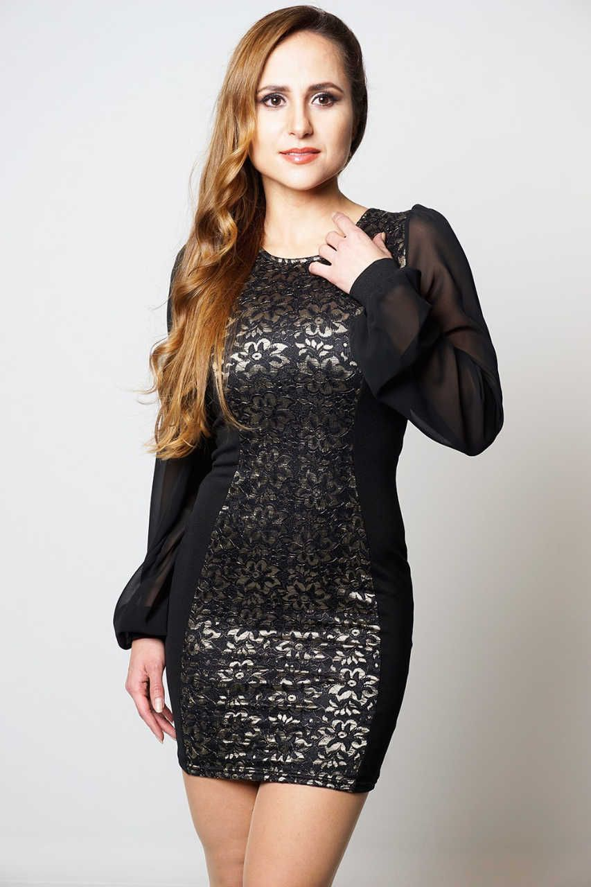 Leah black gold floral lace overlay contrast panel chiffon style