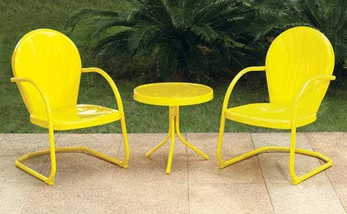 Woodstock 3 Piece Yellow Bistro Patio