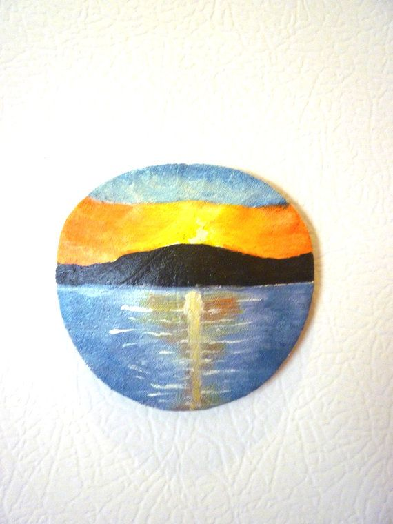 Hand Painted Santa Barbara Ca Sunset Miniature  by TaMuidBeo, $17.00
