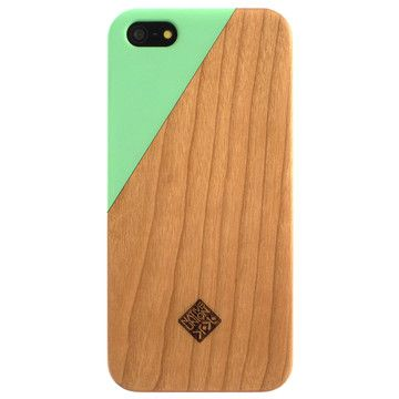 mint + wood phone case