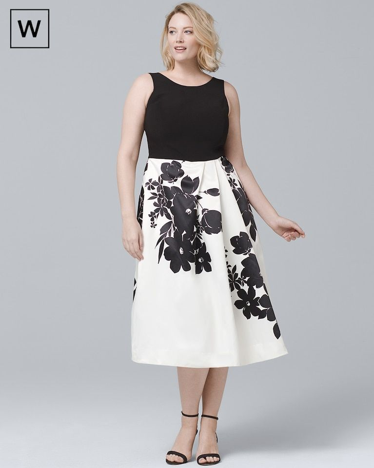 f886d7d1c64 Women s Plus Exploded Floral Fit-and-Flare Dress by White House Black Market