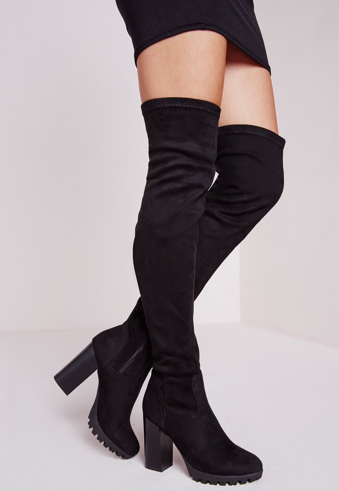 11068fb2767 Over The Knee Cleated Sole Boots Black - Shoes - Boots - Missguided ...