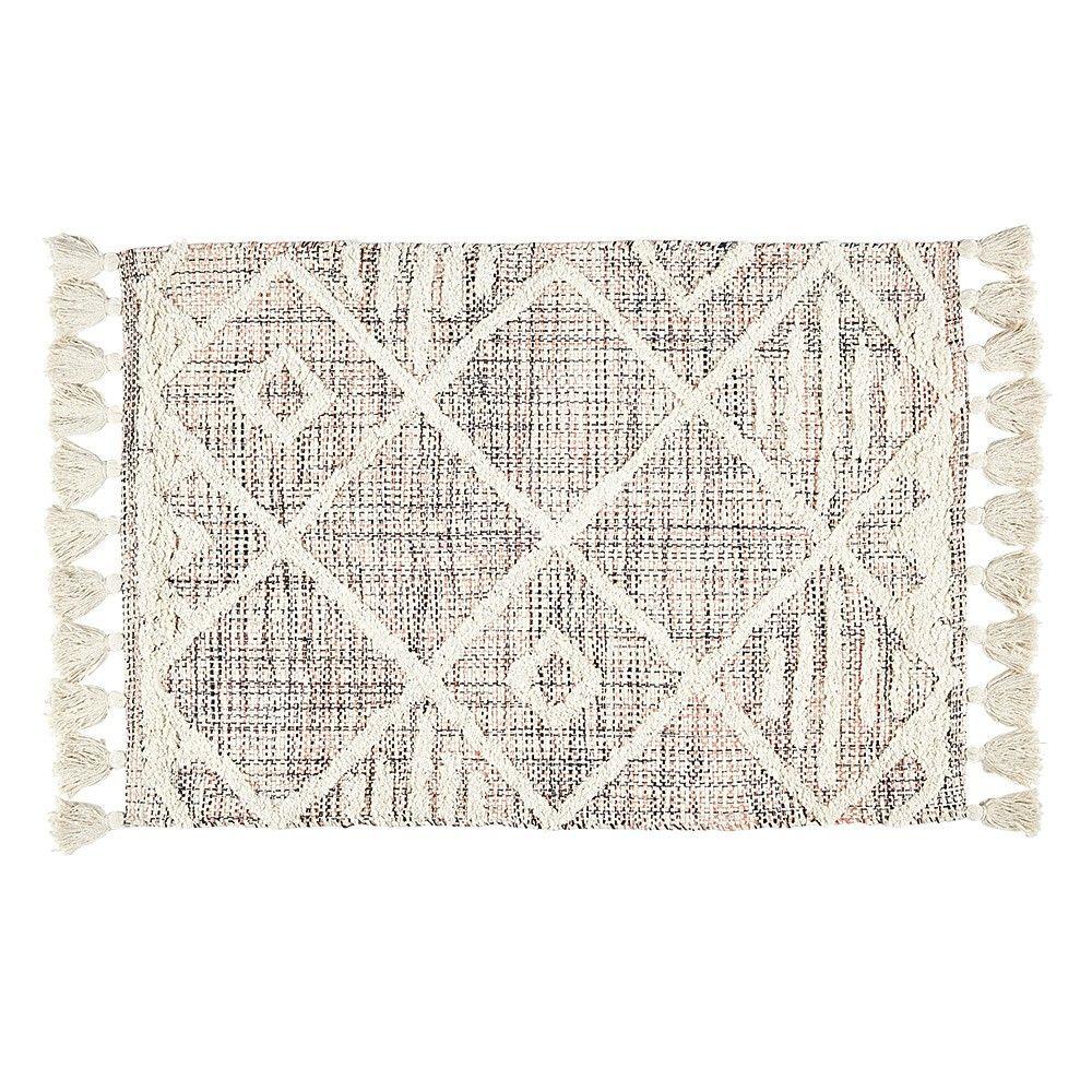 tapis a franges jute motif tufte en