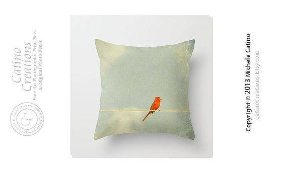Cardinal on Wire Pillow Red Cardinal Pillow Cover Teal Sky Clouds Bird on Wire Throw Pillow Cover 16x16 via Etsy