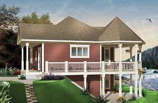 the trail seeker 2 wraparound porch lakefront cottage house plan