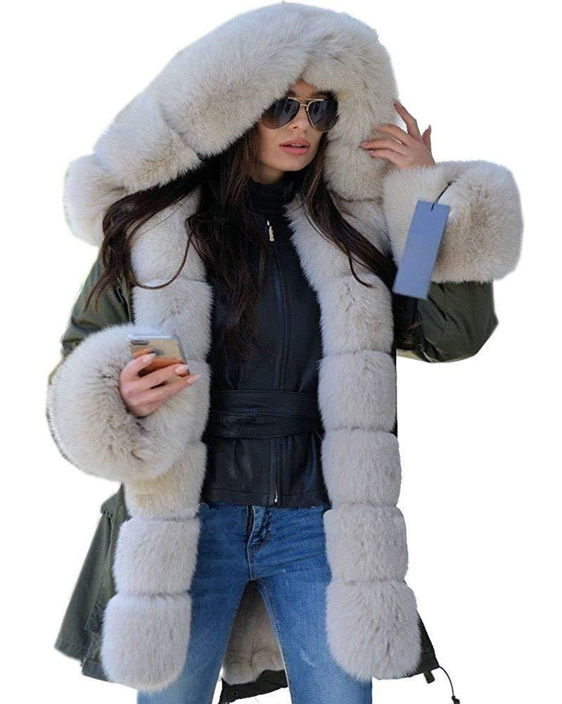 a2134352c39 Aox Women Beige Faux Fur Hooded Coat Warm Thicken Plus Size Windproof  Trench  fashion  clothing  shoes  accessories  womensclothing   coatsjacketsvests (ebay ...