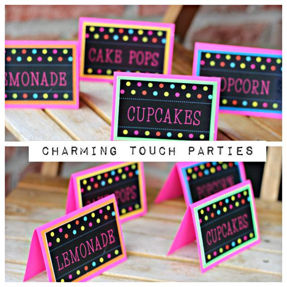 Girl Neon Birthday Party Food Tents Labels Set Of 6 By CharmingTouchParties