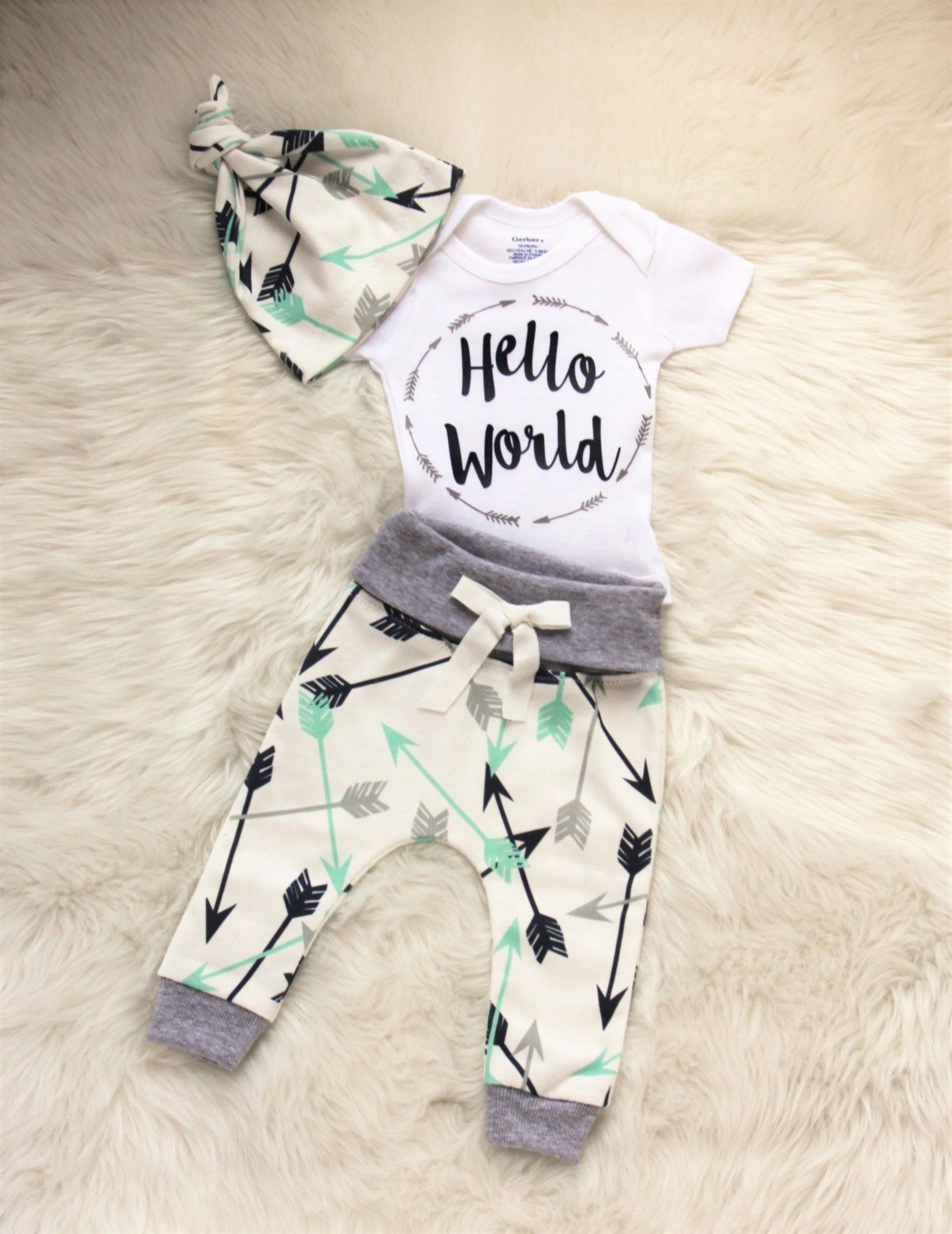 Baby Boy Coming Home Outfit Hello World Outfit Arrow
