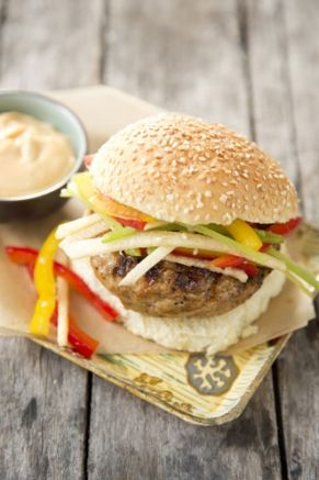Chinese Chicken Burgers With Rainbow Sesame Slaw This Was A