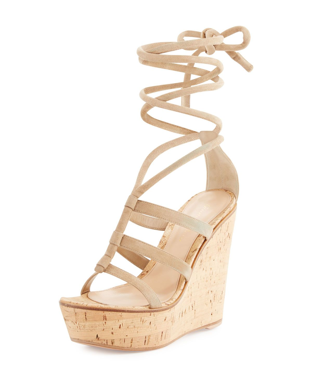 6ad90f3fedb GIANVITO ROSSI SUEDE ANKLE-WRAP WEDGE SANDAL.  gianvitorossi  shoes ...
