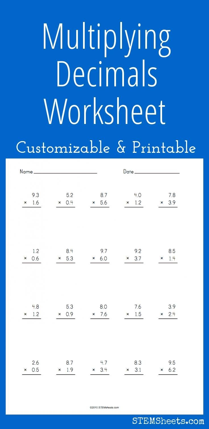 Multiplying Decimals Worksheet  Customizable And Printable  Math