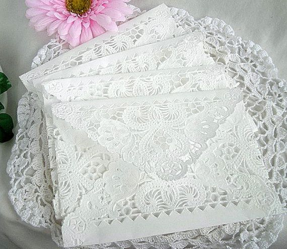 Doily Paper Lace Envelopes, Vintage, Wedding, Handmade, A2 White, Invitation Liner, Tea, Shabby Chic, 35 Piece Set on Etsy, $69.25 AUD