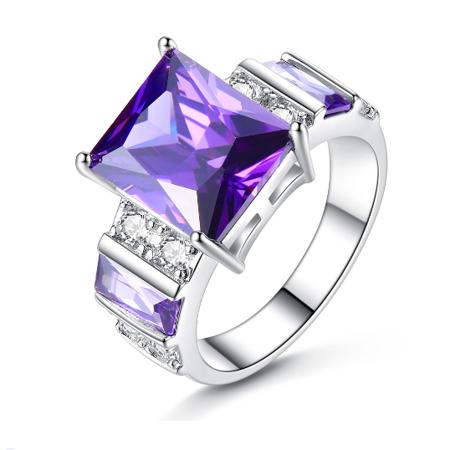 Cubic Zirconia CZ Amethyst Ring For Women in