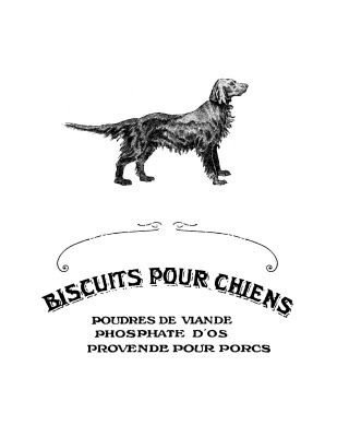 Free printable label made from an old French Invoice for Dog Biscuits, would be cute if I decide I need a new Doggie Jar of Happiness.  (Milkbone container.)  Blog has lots of free printables.