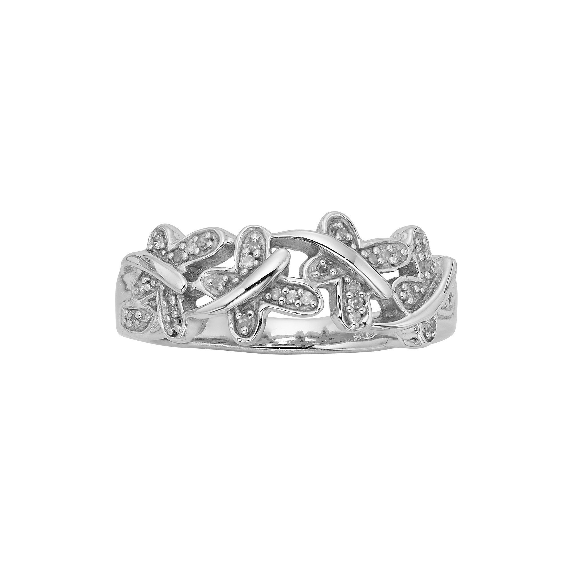 Sterling Silver 1/10ct. T.W. Diamond Butterfly Ring