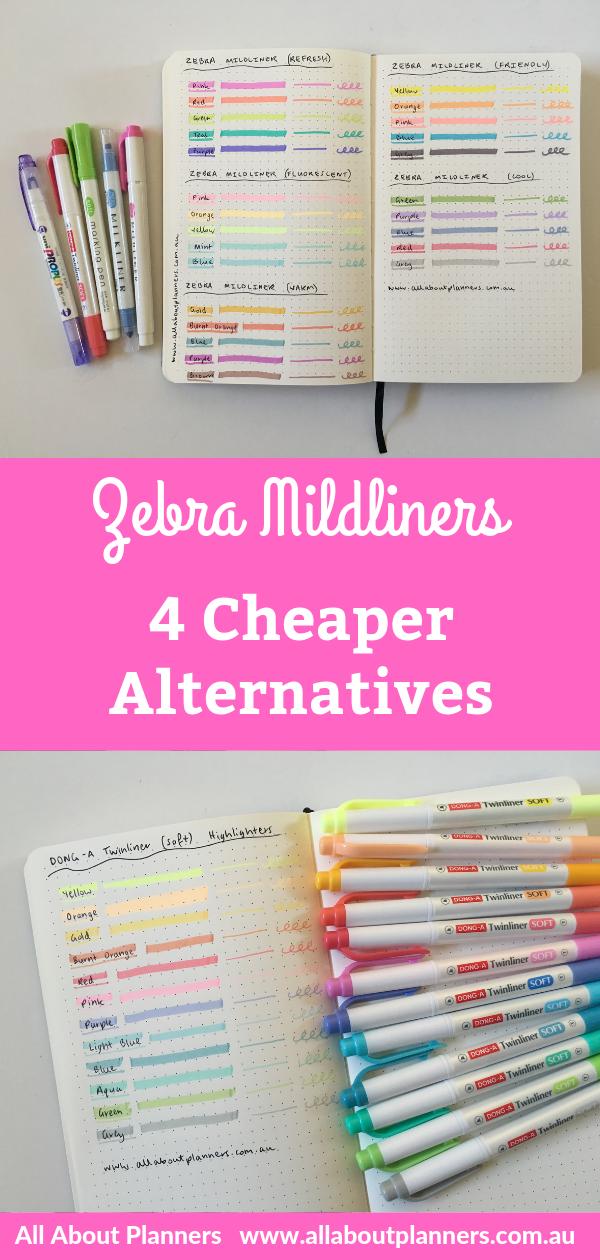 4 Similar (and cheaper) alternatives to the Zebra Mildliner Dual Tip Highlighters