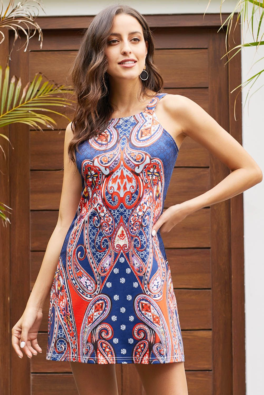 Navy Print Coral Racerback Bohemian Dress Racerback Dress Short Dresses Casual Dresses [ 1500 x 1001 Pixel ]