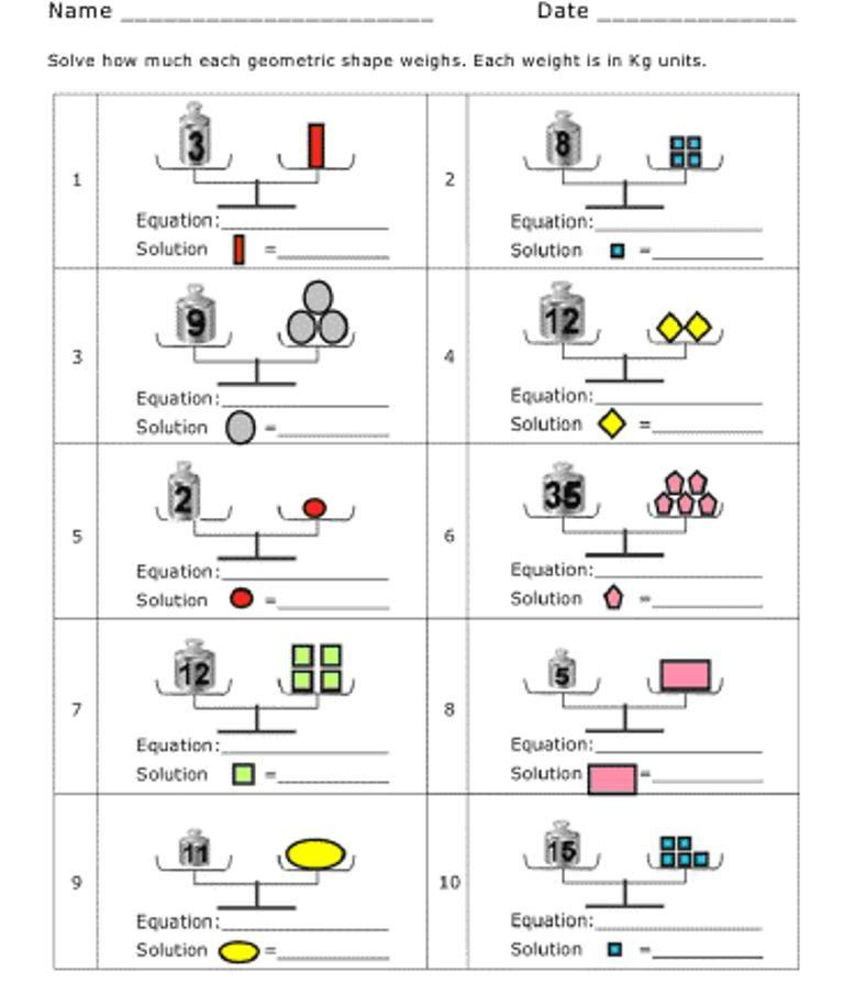 pan balance problems | Printable | Pinterest | Math, Algebra and ...