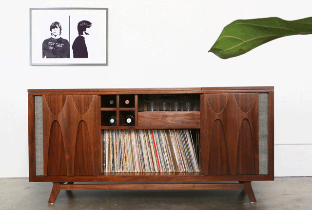 Classic Record Cabinet Doubles As A Whiskey Bar Record Player