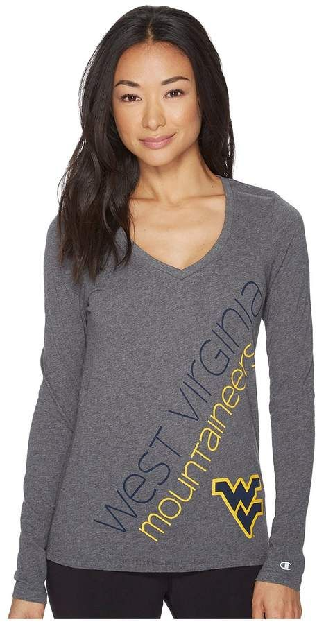 116a41045 Champion College West Virginia Mountaineers Long Sleeve V-Neck Tee Women's  T Shirt
