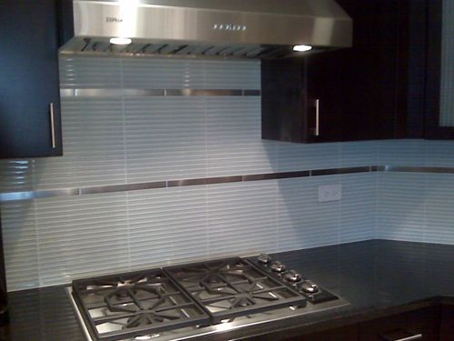 Skinny Glass Tiles With 1x12 Stainless Accent Tiles Cool