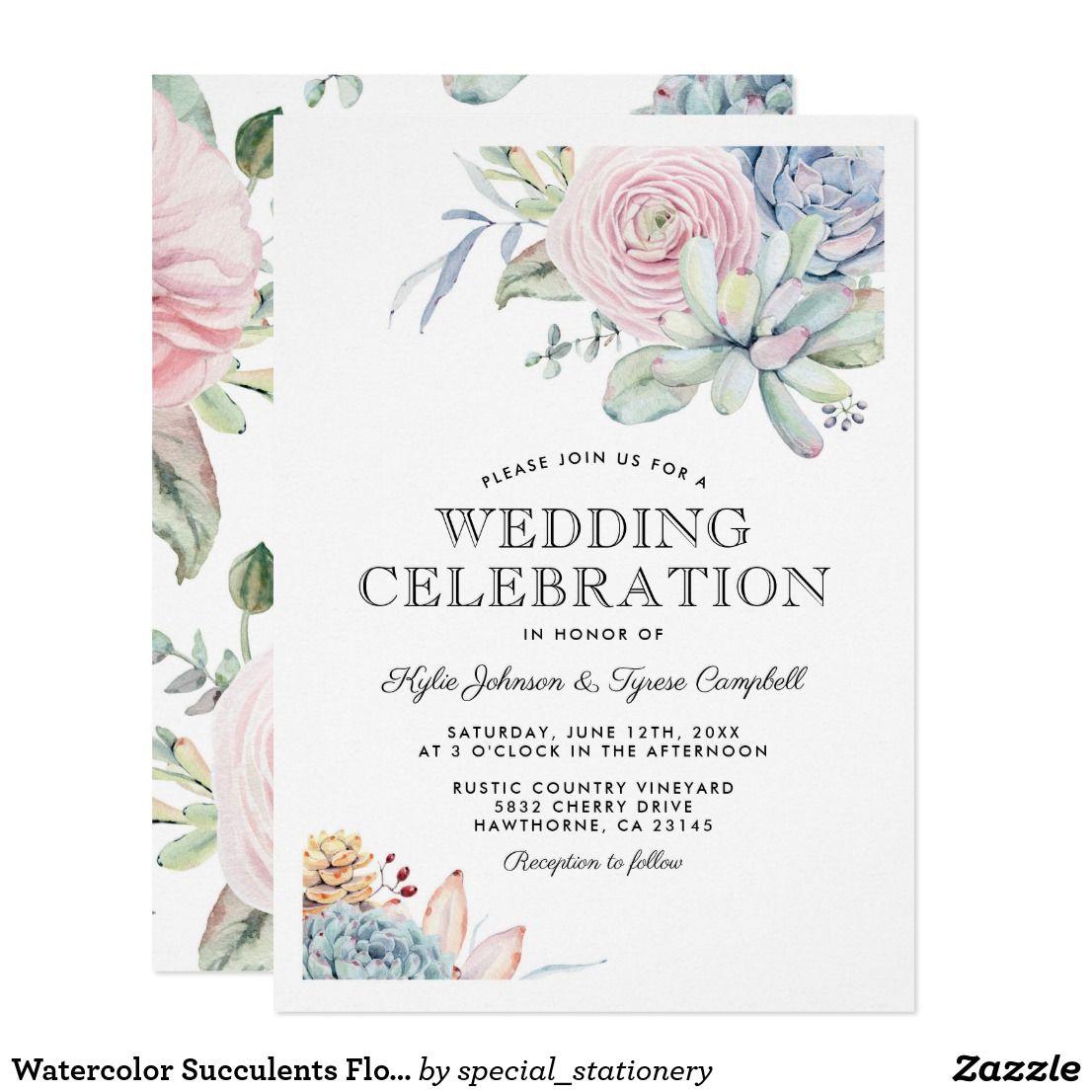 Watercolor Succulents Floral Bloom Vintage Wedding Card Elegant ...