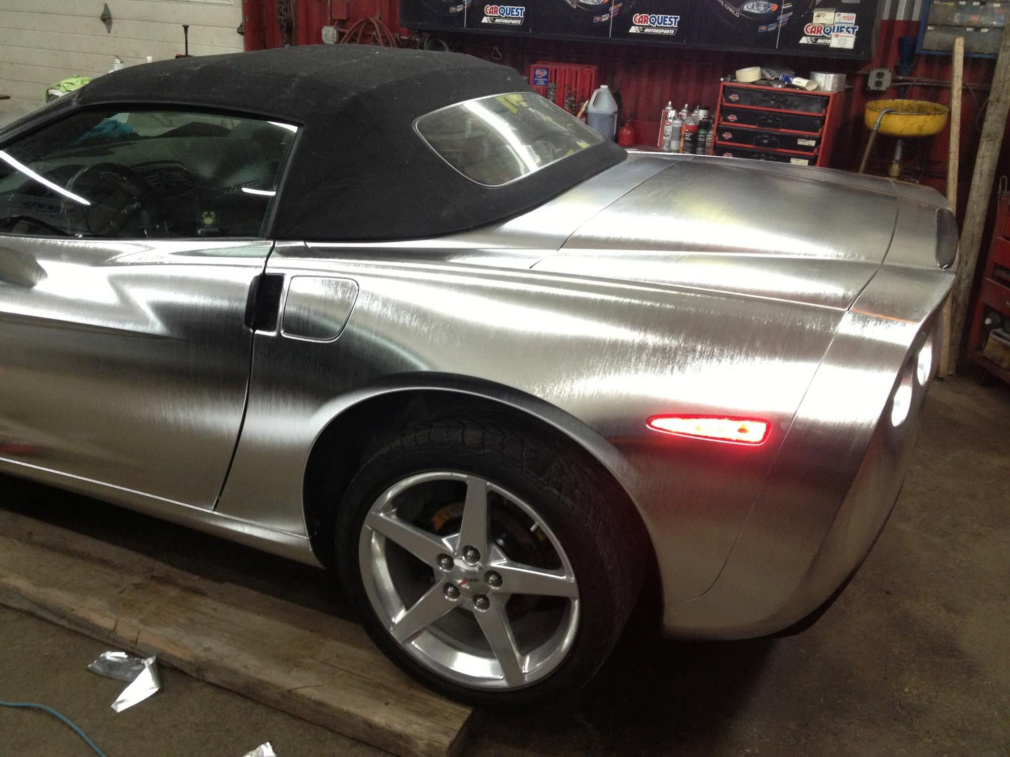 Brushed chrome corvette in vvivid vinyl brushed chrome