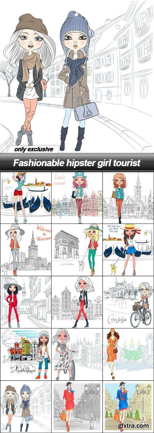 Fashionable hipster girl tourist - 15 EPS