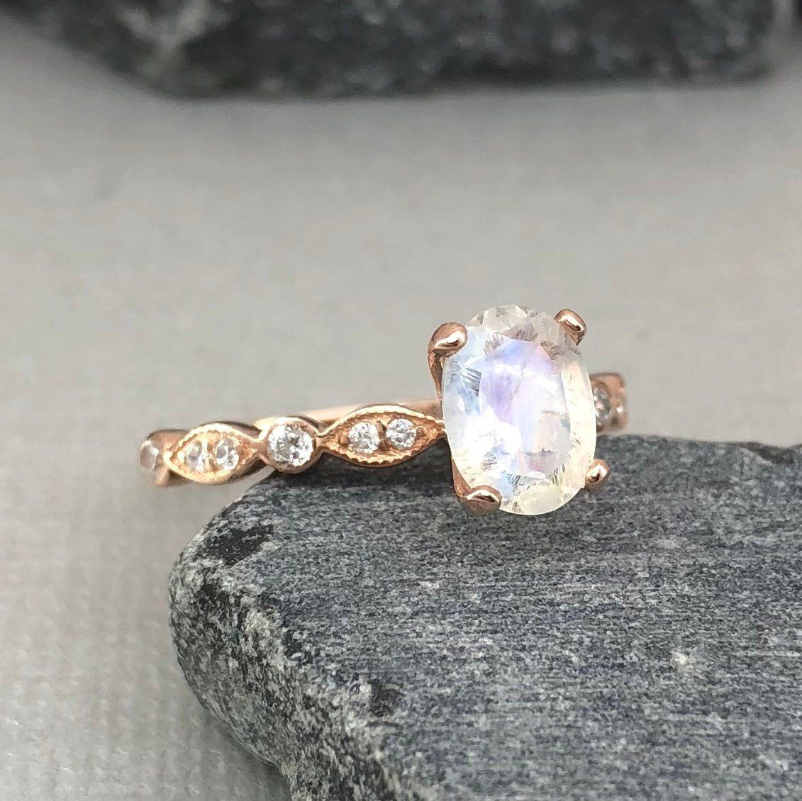 K solid rose gold oval moonstone simulated diamond art deco ring