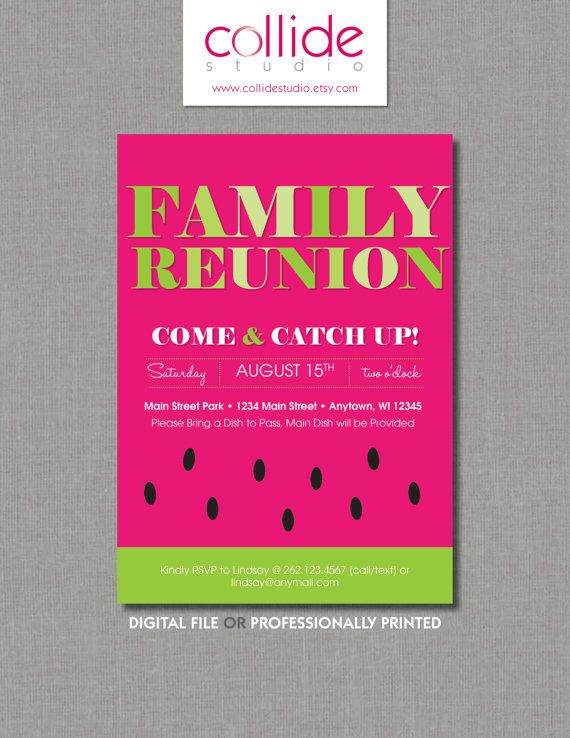 Watermelon Family Reunion  Picnic Invitation  Entertaining