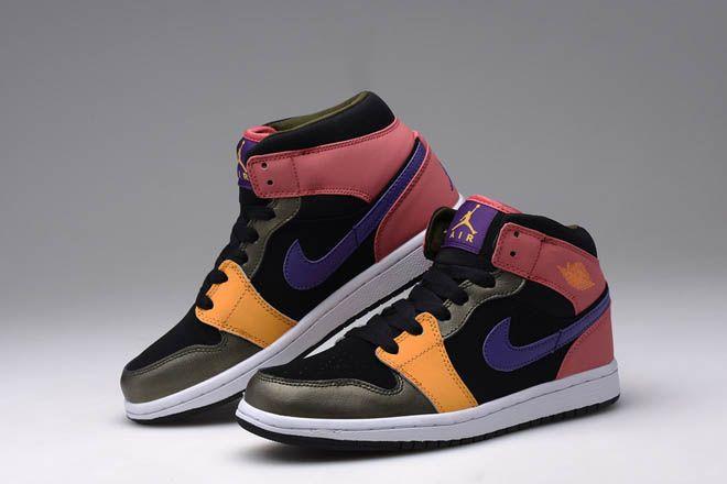 38d5f8fe9837 Female Jordan 1 Retro Mid Girls Pink Black Purple Yellow Color Sneakers