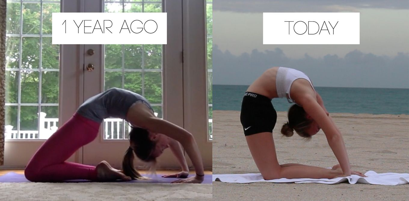 Before And After 1 Year Of Working On Backbending Yoga Benefits Yoga Progress Yoga For Flexibility
