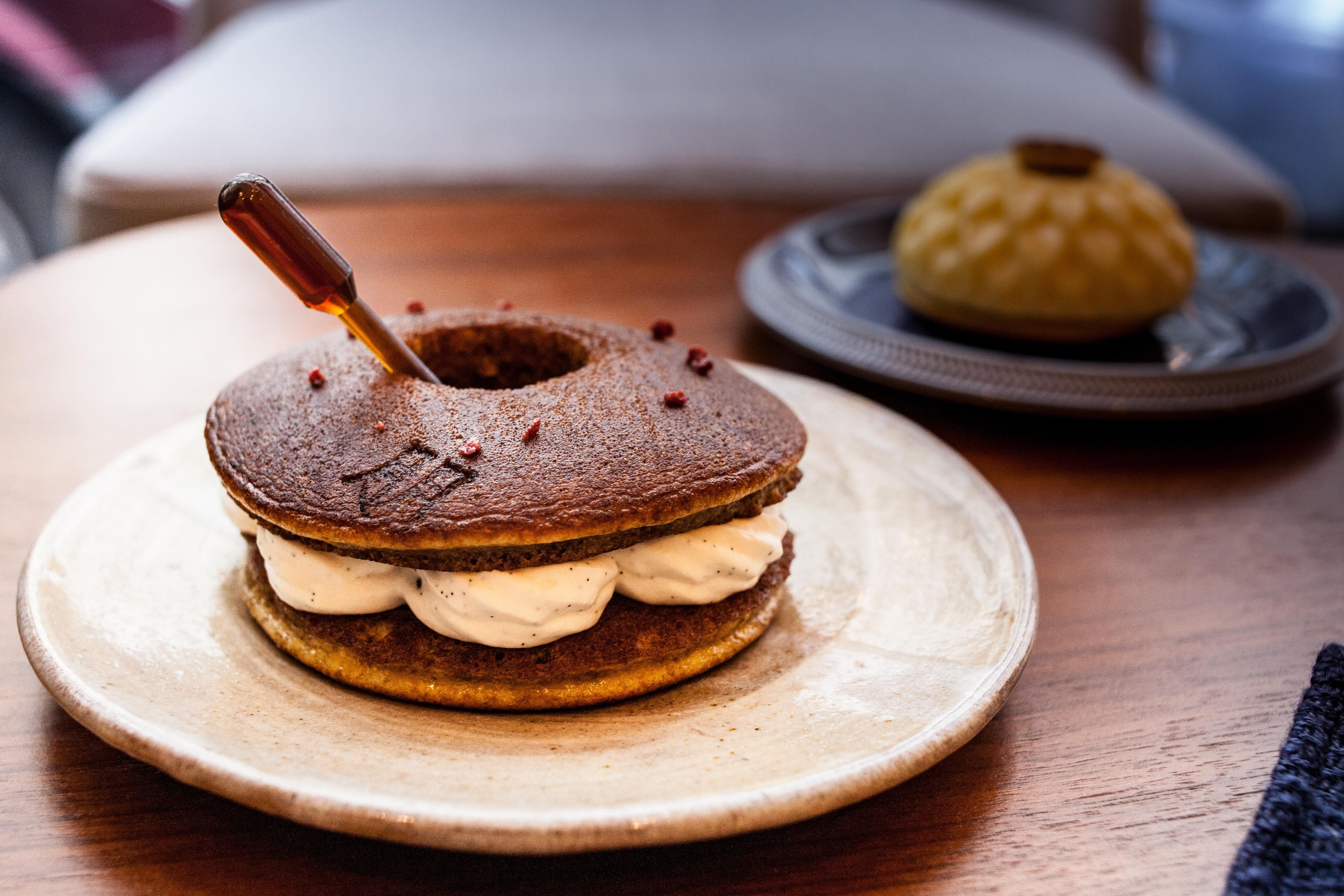 Whisky Baba with dorayaki whipped cream and smoked salt in