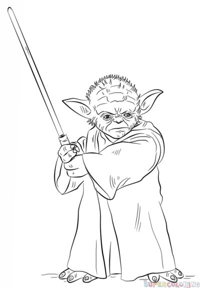 How to draw Yoda with lightsaber | Step by step Drawing tutorials ...