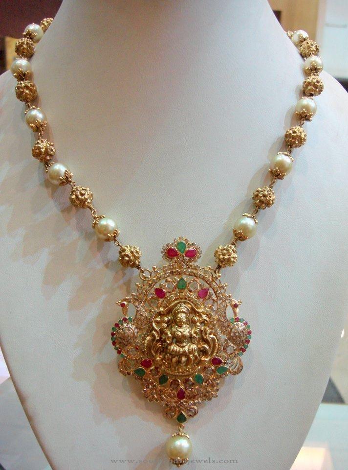 gold pearl mala with lakshmi pendant gold pearl pearl