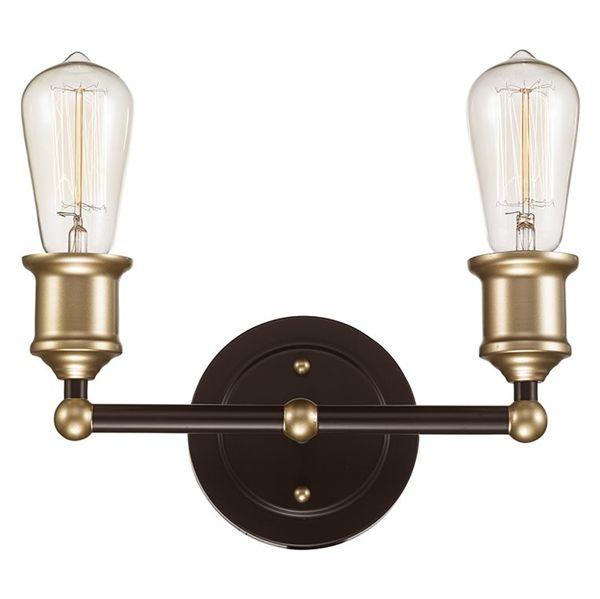 Bel air lighting 2 light rubbed oil bronze with gold vanity light