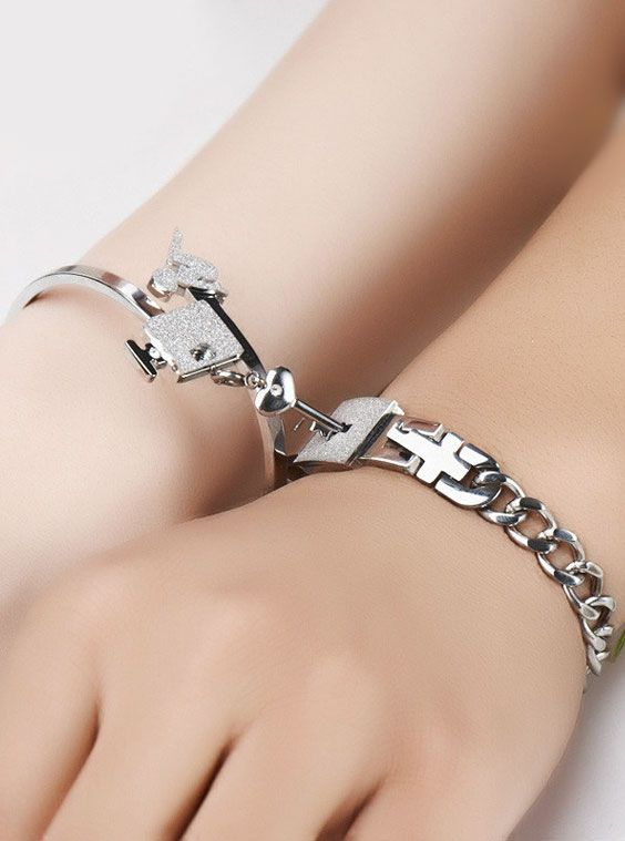 452ccfd9b0 Matching Couple Lock and Key Bracelet & Bangle Set ~ Love Gift for  Girls @