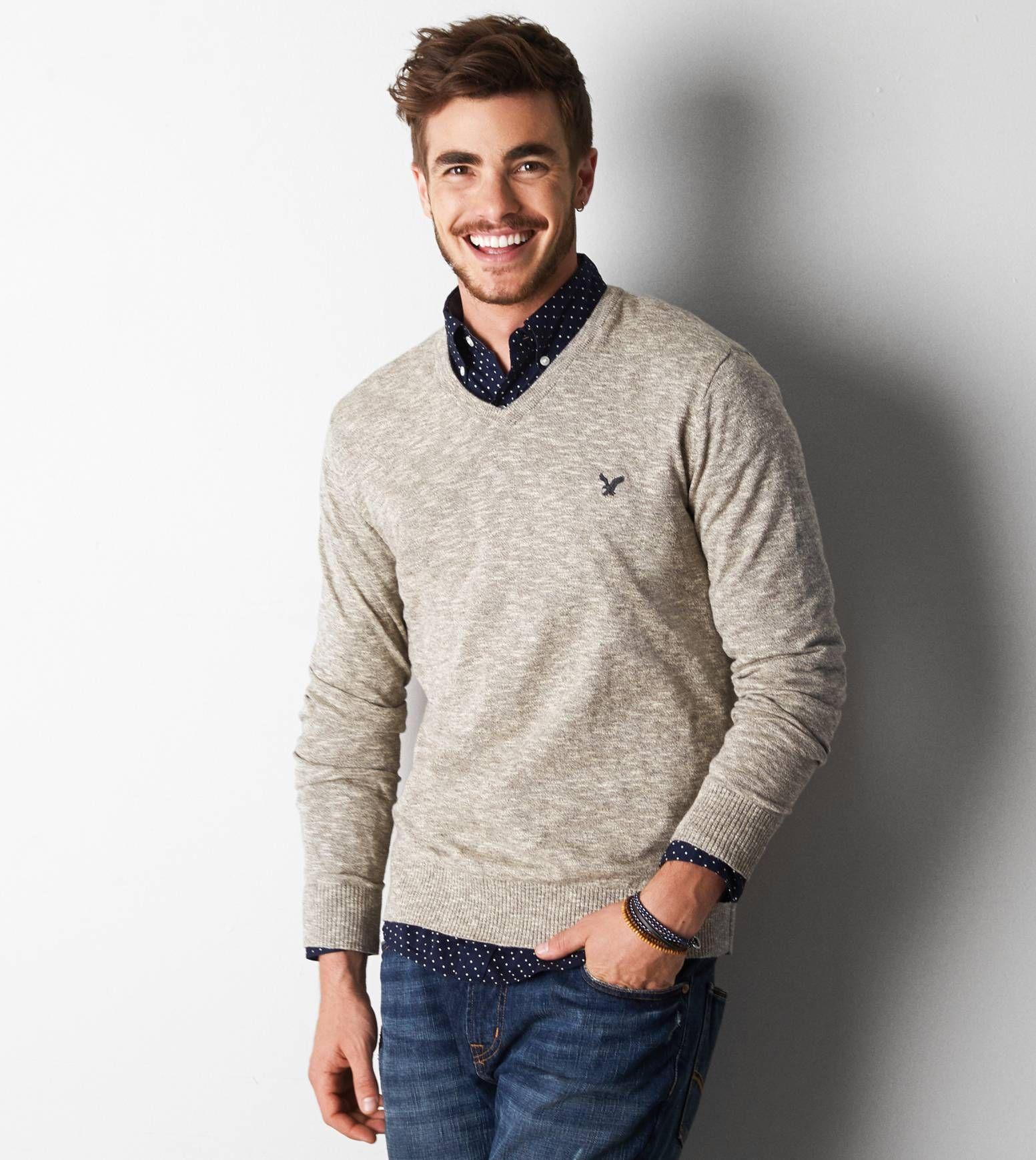 Hazelnut Marl AEO Iconic V-Neck Sweater   Men's Fashion • Sweaters ...