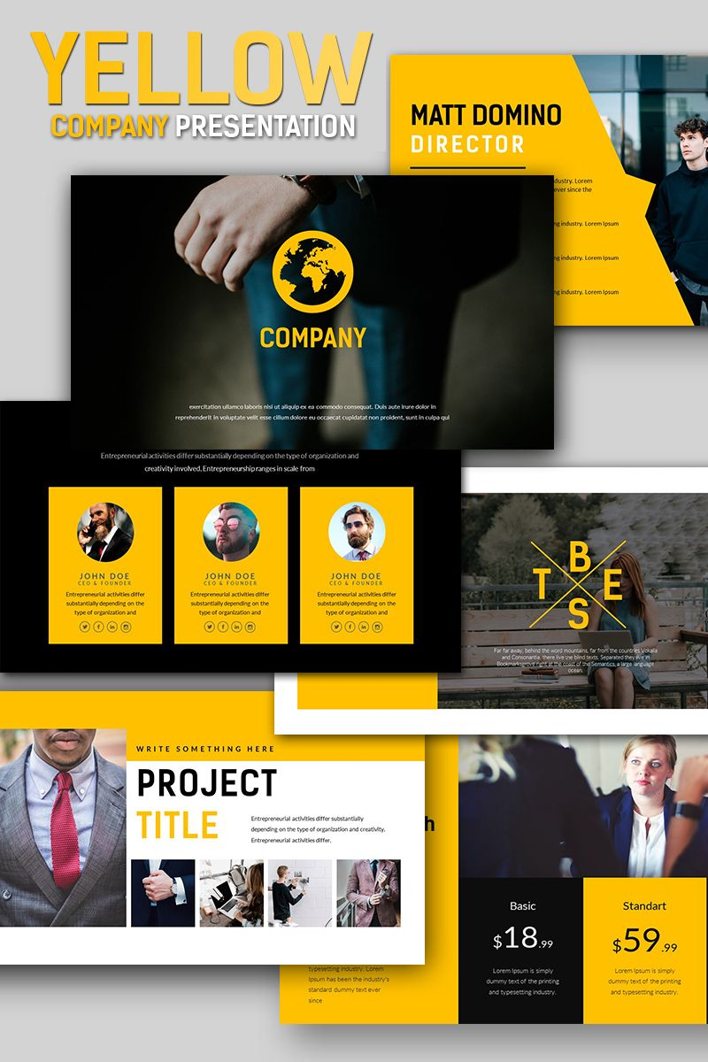 Yellow Company Business Presentation Powerpoint Template Design